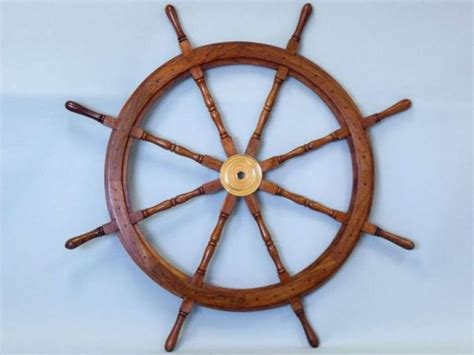 buy deluxe class wood and brass decorative ship wheel 48