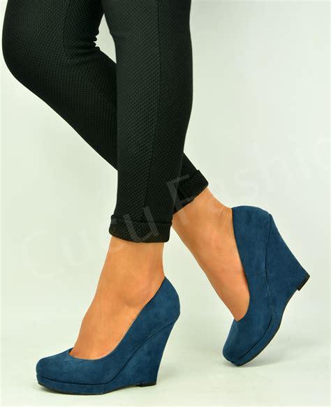 Wedge Heel Pumps new womens wedge heel pumps pull on closed toe