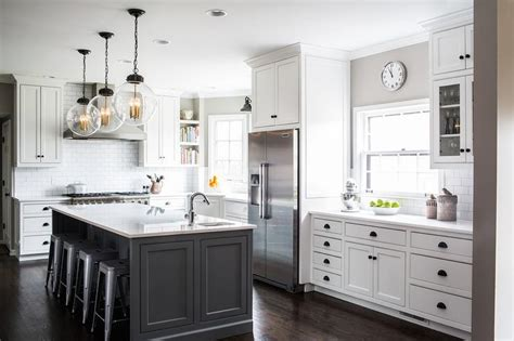 White Kitchen Gray Island by White Cabinets With Charcoal Gray Kitchen Island