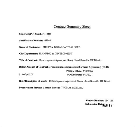 contract summary template sle contract summary 7 documents in pdf word