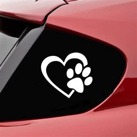 printable vinyl window decals pet paw print heart white dog cat vinyl decal car window