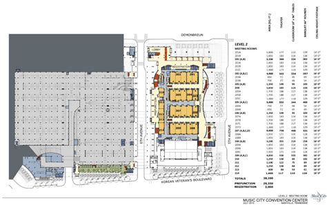 music city center floor plan level 2 meeting rooms nashvillemusiccitycenter com