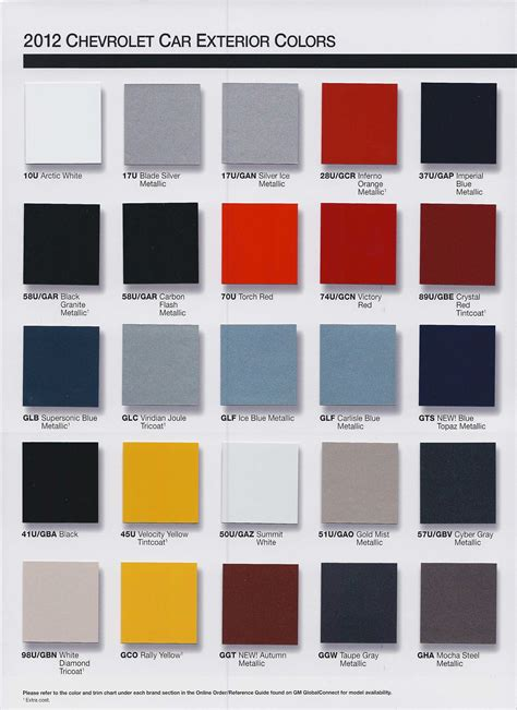 2016 camaro color chart autos post
