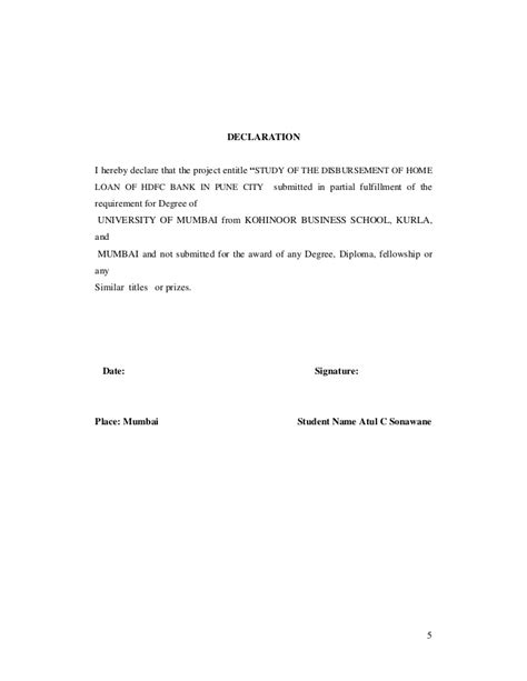 Loan Declaration Letter Study Of The Procedure Of Disbursement Of Home Loan Of Hdfc Bank In P