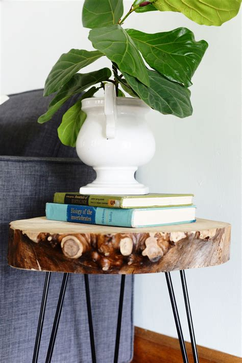 hairpin leg table diy diy wood slab side table with hairpin legs