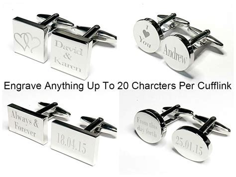 Silver Engraved Custom Cufflinks Cuff Links Personalised