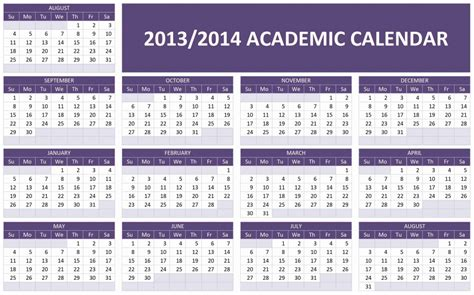 2014 calendar template for word 2013 2014 academic calendar template models picture