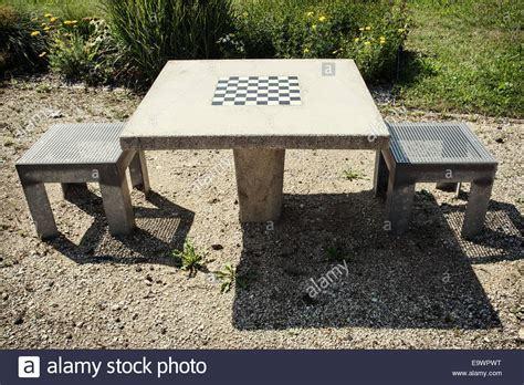 chess table with chairs chess table and chairs in outdoor stock photo royalty