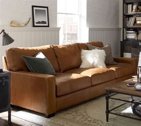 Turner Square Arm Leather Sofa   Pottery Barn