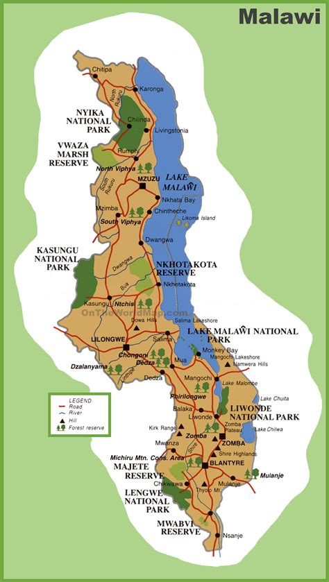 malawi map malawi tourist map