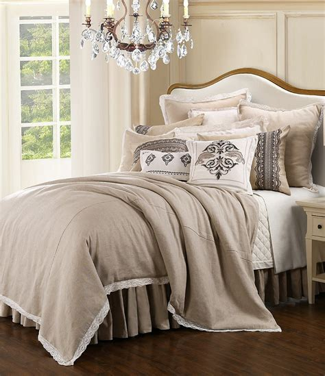 hiend accents charlotte linen and lace comforter set