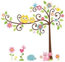 Cute owl scroll tree branch 3d wall decals removable decoration ideas