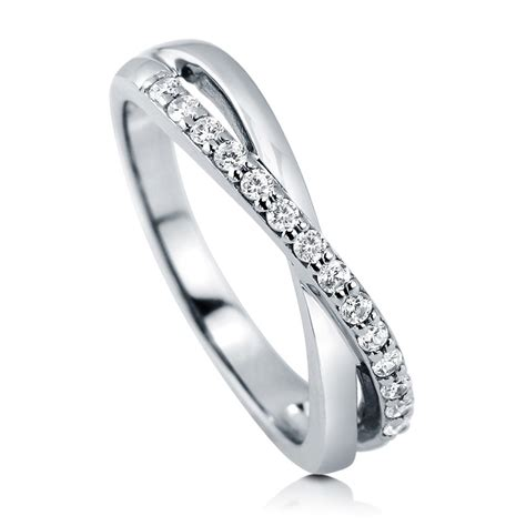 sterling silver cubic zirconia cz criss cross infinity