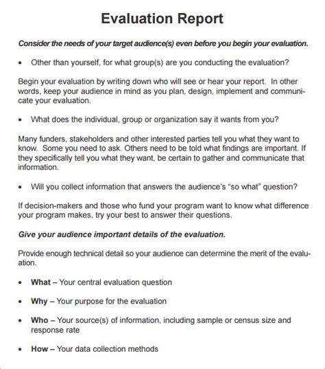 Site Evaluation Template by 8 Evaluation Report Templates Sle Templates