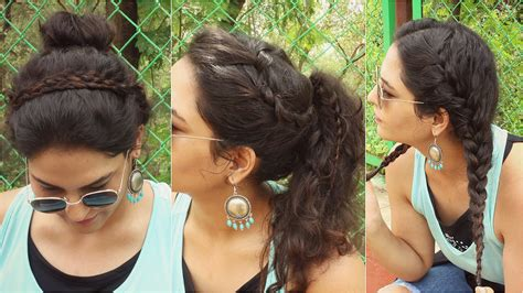 simple  minute curly hairstyles   school knot
