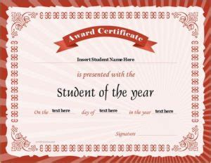 student of the year award certificates professional