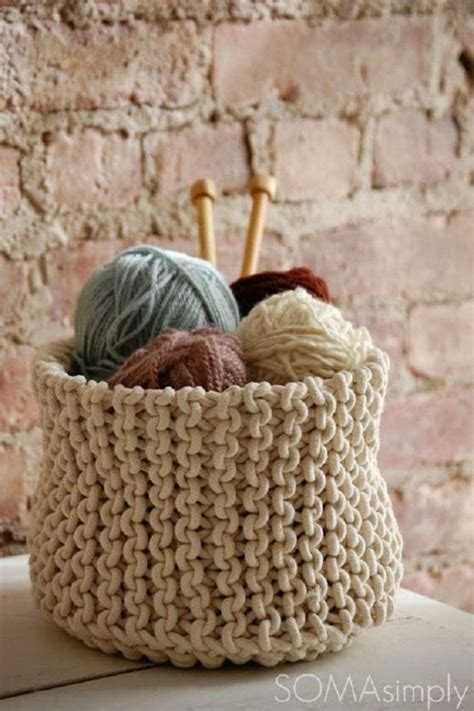 knitting basket creative diy knitted blanket of wool for cold days
