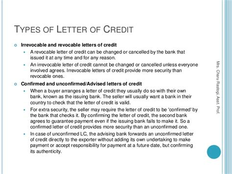 Letter Of Credit Different Types Irrevocable Letter Of Credit Best Letter Exles