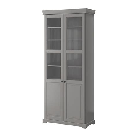 liatorp bookcase with glass doors grey ikea