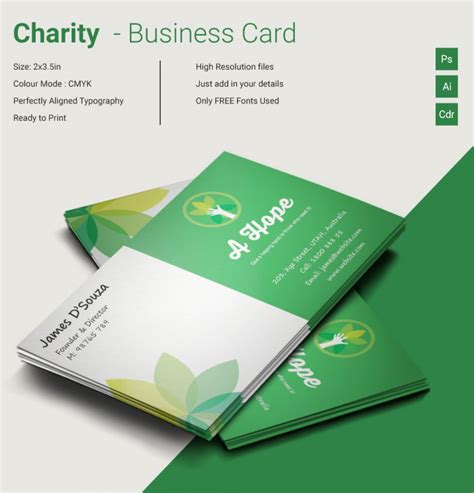 excellent charity business card template free premium