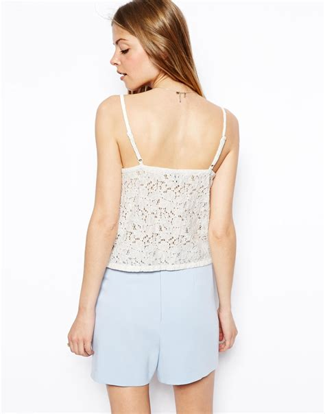 Asos Lace Back Courts by Asos Leather Lace Back Cami In White Lyst