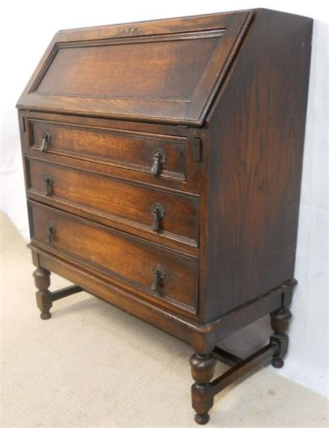 Bureau Desk by Jacobean Style Oak Writing Desk Bureau 174778