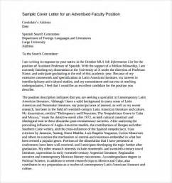 Faculty Cover Letter Exles by Sle Faculty Position Cover Letter 7 Free Documents In Pdf Word
