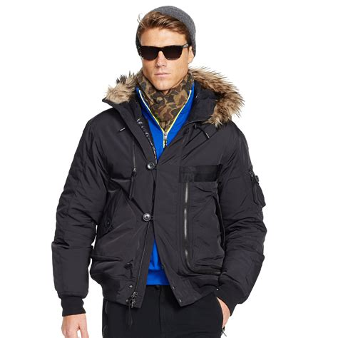 Jaket Parka Tipe A Polos Navy lyst polo ralph hooded bomber jacket in black for