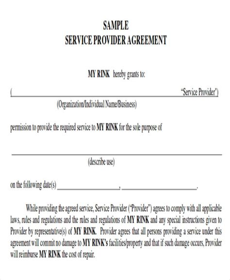 service provider agreement template service contract sle in pdf 10 exles in pdf