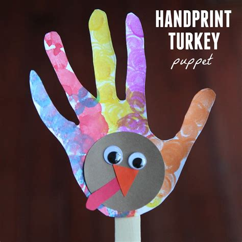 handprint turkey crafts for toddler approved handprint turkey puppet