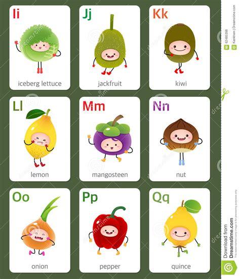 tutti i frutti testo alfabeto inglese di flashcard stabile dalla i a q con i