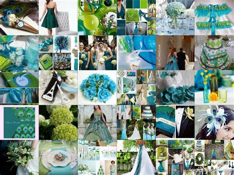 wedding colors that complement emerald green   Teal