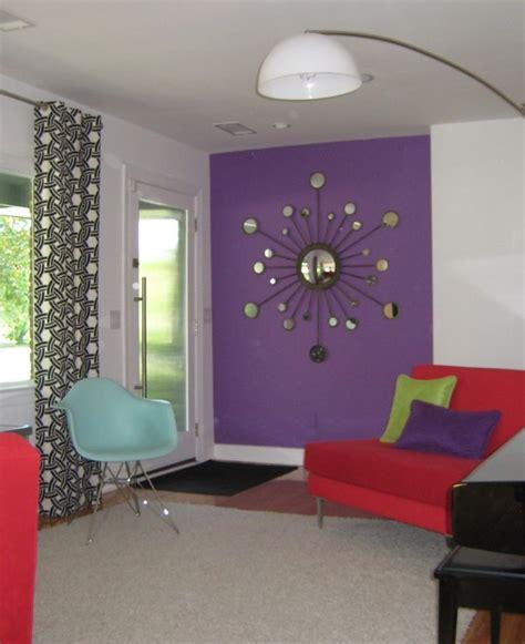 interesting decorating  lavender color walls  red