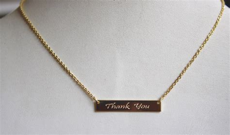 Gratitude Necklace thank you bar gratitude necklace gold mindfully