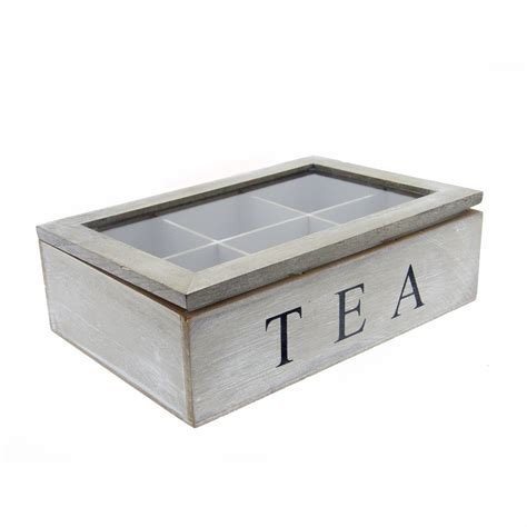 shabby chic grey wash tea bag storage box with perspex lid