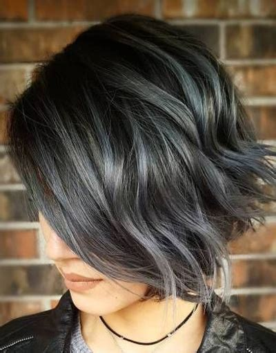 short haircuts brunettes with gray highlights grey hair color for short hairstyles 2018 highlights
