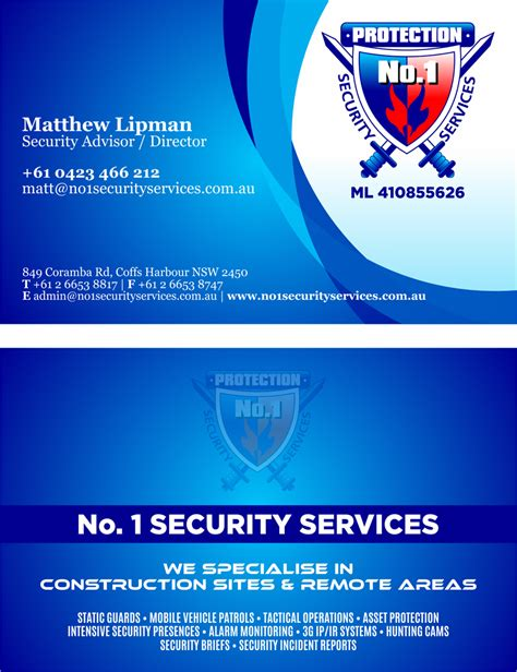 For Business 1 Rachmell Vazokiray Limited business card design design for no 1 security services pty ltd a company in australia page 2
