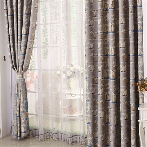 Nautical Blackout Curtains Thick Polyester Thermal Blackout Quality Nautical Pattern Nursery Curtains
