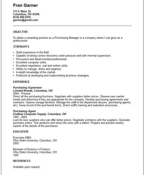 Sle Business Administration Resume Objectives Doc 638825 Purchasing Manager Resume Bizdoska