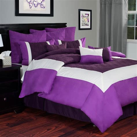 Hotel Comforter Set by Lavish Home Hotel Comforter Set Purple White Bedding