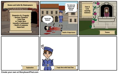 tragedy of romeo and juliet template storyboard