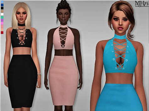 sims 4 female halter top a unique and stylish fitted halter choker outfit with