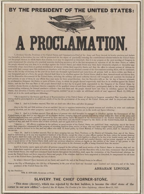 printable version of emancipation proclamation the emancipation proclamation issued today in 1863 the