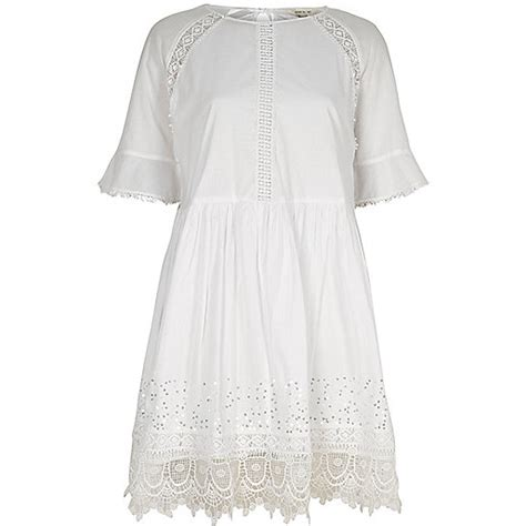 River Island Mint Smock by White Lace Trim Smock Dress Dresses Sale