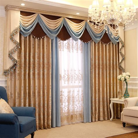 valance curtains for living room living room decorative jacquard thermal insulated curtains
