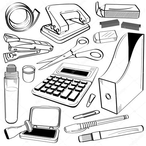 office drawing tools office stationery tool doodle stock vector 169 leremy 7096963