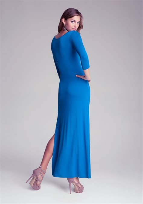 3 4 Sleeve Slit Side Dress bebe 3 4 sleeve side slit maxi dress in blue lyst