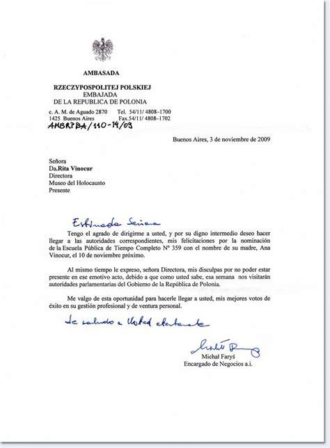 carta formal embajada escuela