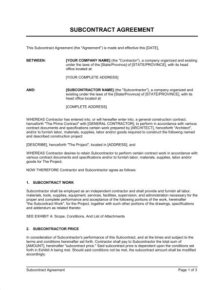 subcontracting agreement template subcontractor agreement template sle form biztree