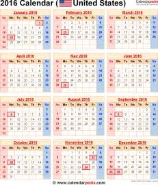 2016 calendar united states